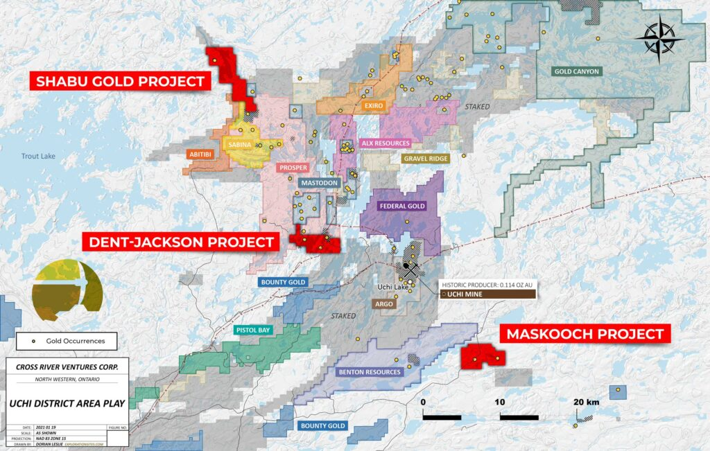 Map of Dent Jackson Property Gold Mining Project Ontario Canada Cross River Ventures
